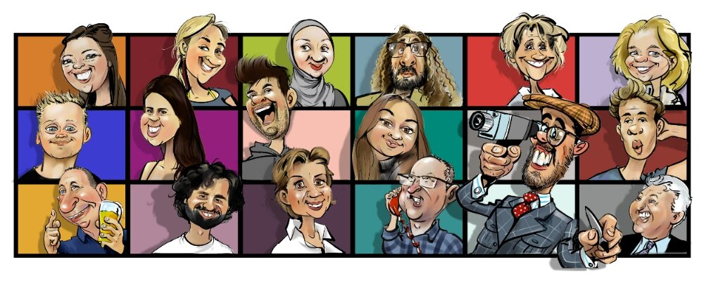 caricature ZOOM party